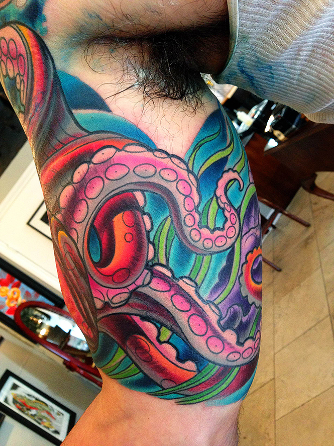 Inner arm octopus tattoo