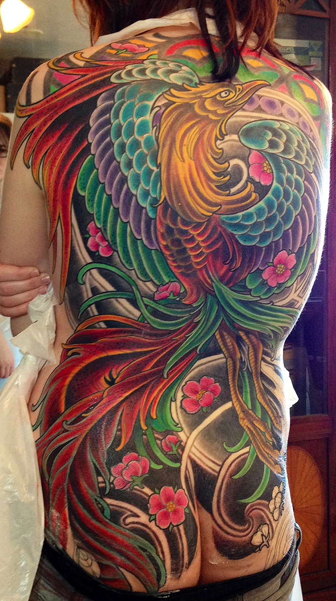 japanese phoenix tattoo in progress