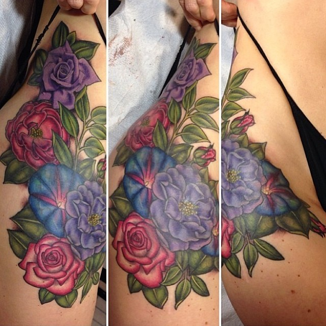 Floral Leg Tattoo by Sarah Genereux