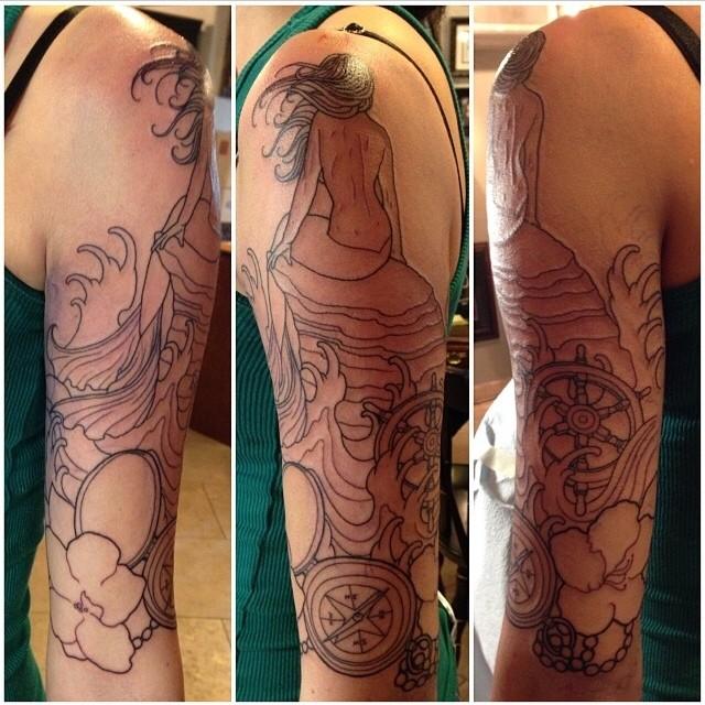 Mermaid Ocean Arm Custom Tattoo by Tattoo Artist Sarah Genereux