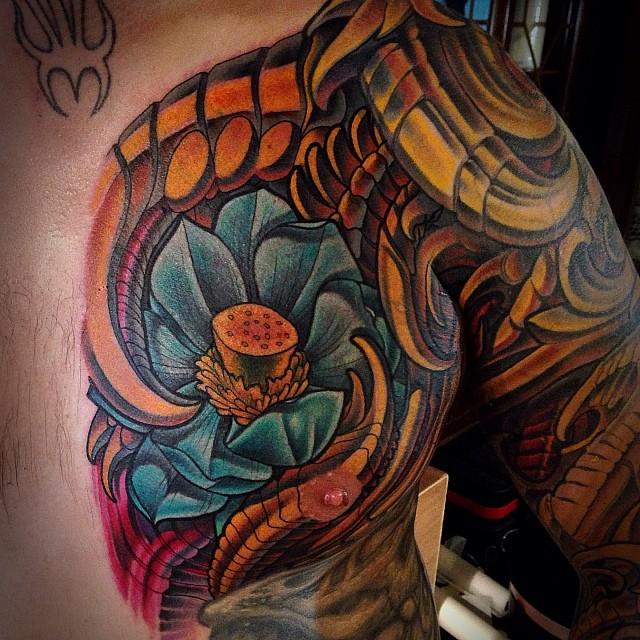 Biomechanical Lotus Tattoo by Terry Ribera
