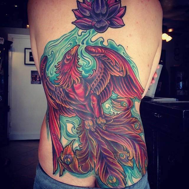 San diego tattoo artist terry ribera with a phoenix back for Tattoo artist phoenix az