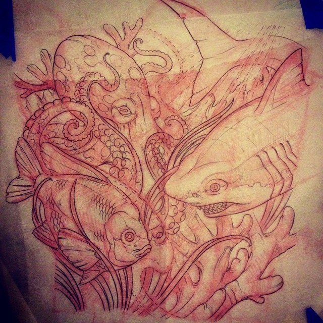 Custom Tattoo - Underwater Leg Tattoo Sketch by Terry Ribera