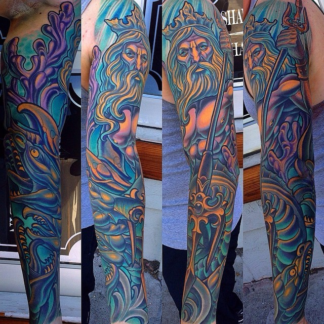 Poseidon sleeve tattoo