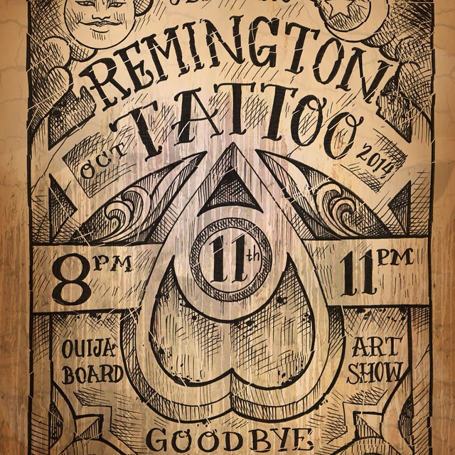 October 11th 8pm at Remington Tattoo #ouijaboard #artshow #sandiego 3436 30th st. #3 92104
