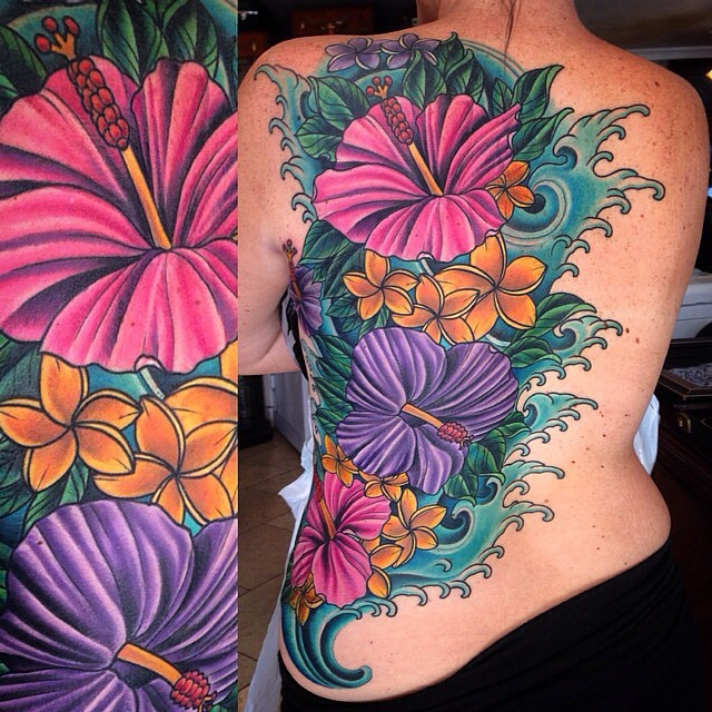 Full Back Tattoo For Women With Flowers Remington Tattoo Parlor