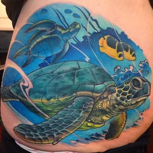 Sea turtles by Nathaniel Gann @nathanieltattoosd at Remington Tattoo #seaturtletattoo #seaturtles #tattooistartmagazine @tattooistartmag #remingtontattoo