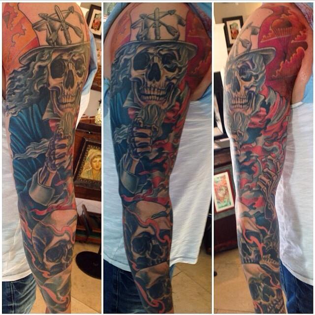 Sleeve by Nathaniel Gann @nathanieltattoosd at Remington Tattoo #unclesam #sleeve #tattoosleeve #unclesamtattoo #wewantyou #remingtontattoo #skeletontattoo