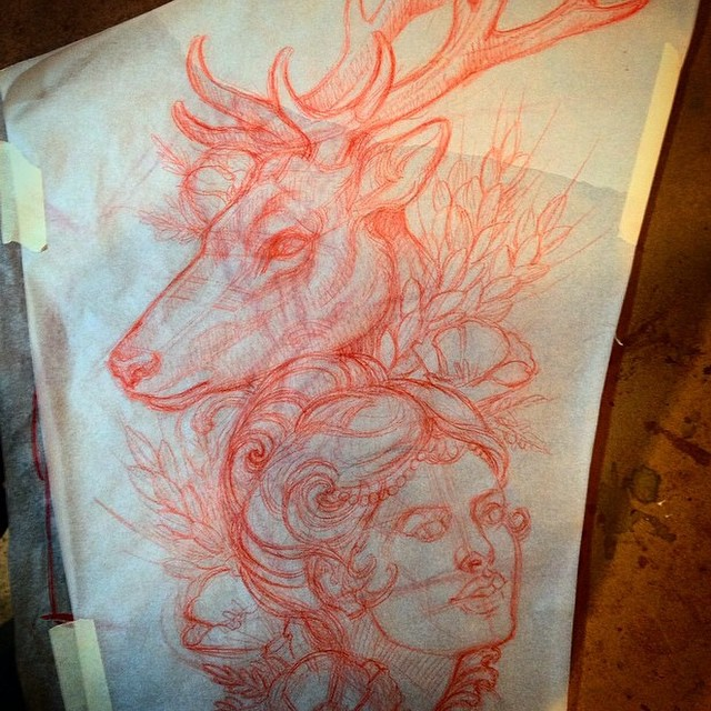 Woman with stag drawing by Terry Ribera for an upcoming tattoo #stagtattoo #antlertattoo #deertattoo #terryribera #drawing #sketch