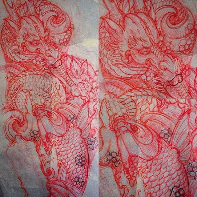 Dragon and koi fish drawing for a tattoo by Terry Ribera