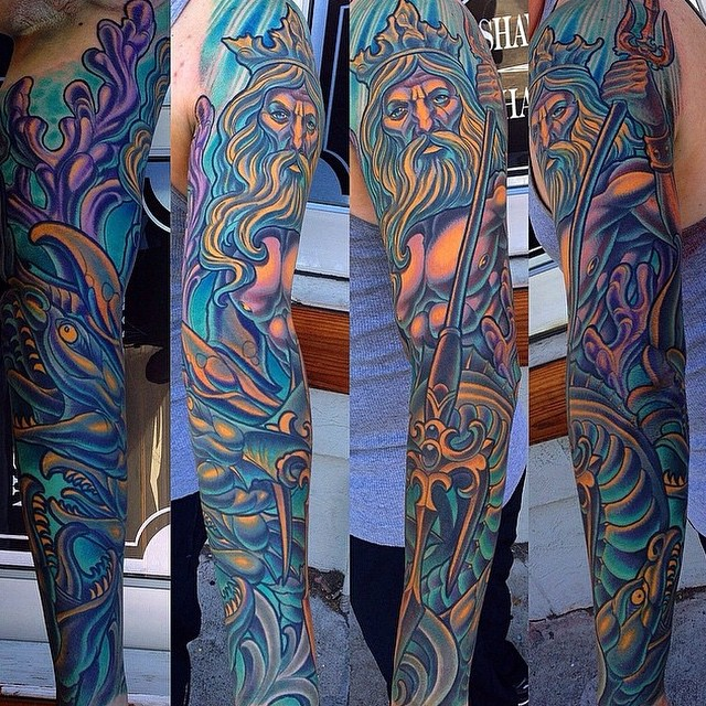 Poseidon tattoo by Terry Ribera @terryribera at #RemingtonTattoo #poseidontattoo #poseidon #tattooistartmag #tattooistartmagazine  @tattooistartmag