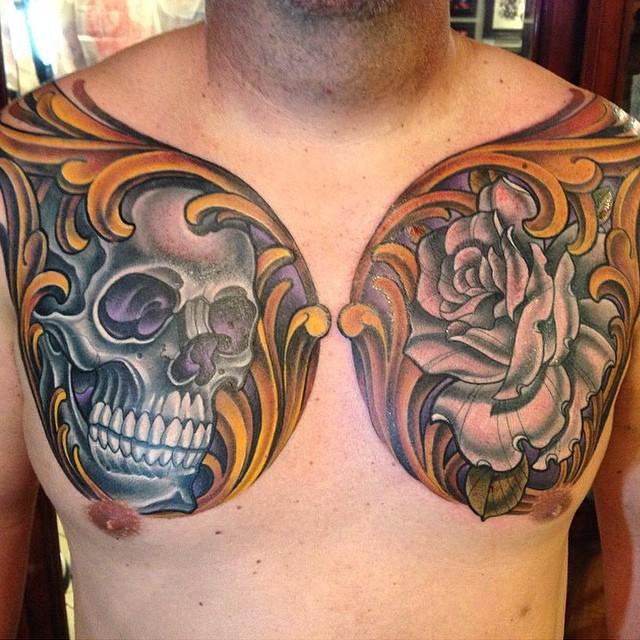Chest piece by Terry Ribera at Remington Tattoo @terryribera #tattooistartmagazine #skull #skulltattoo #rose #rosetattoo #filigree