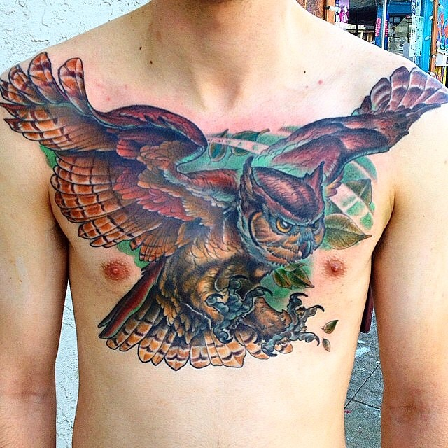 Owl chest piece by Nathaniel Gann @nathanieltattoosd #remingtontattoo #owltattoo #chesttattoo @tattooistartmag #tattooistartmag #tattooistartmagazine