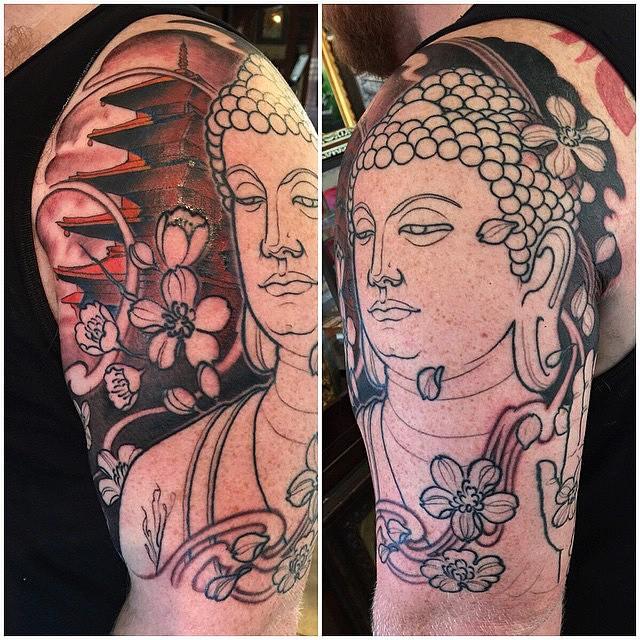 Progress on a piece by Nathaniel Gann @nathanieltattoosd #remingtontattoo #buddhatattoo