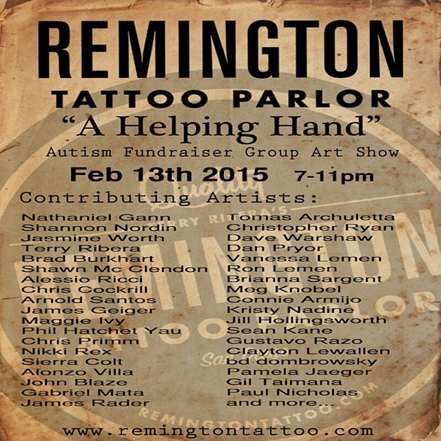 The Remington Tattoo 'Helping Hand' group art show, raffle, and autism fundraiser opens February 13th! 30+ southern CA artists, refreshments, raffle, proceeds go to a good cause, come out and support! #sandiegoautism #autismfundraiser #artshow #sandiego