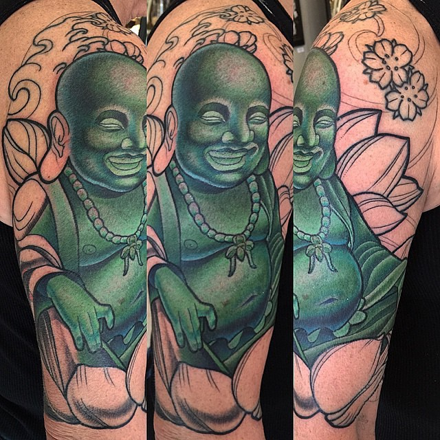 Progress on a Buddha tattoo by Terry Ribera @terryribera #buddhatattoo #progress