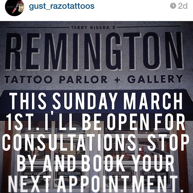 We are excited to announce that Gust Razo will be joining the Remington team on March 1st!! Give @gust_razotattoos a follow and come in to Remington today to book your appointment #remingtontattoo #sandiegotattoo