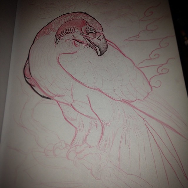 Drawing in progress by @gust_razotattoos #remingtontattoo #birdtattoo #raptortattoo #putabirdonit