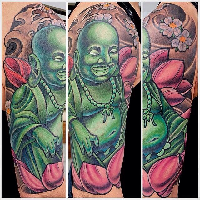 Buddha lotus full color upper sleeve remington tattoo parlor by terry ribera terryribera at remington tattoo remingtontattoo buddhatattoo buddha lotustattoo mightylinksfo