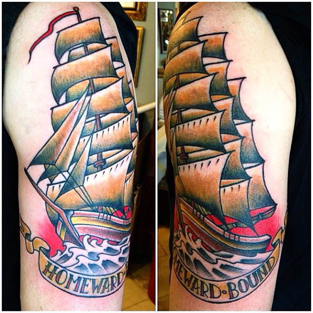 By Nathaniel Gann @nathanieltattoosd #clippershiptattoo #shiptattoo #nauticaltattoo #sandiegotattoo #remingtontattoo
