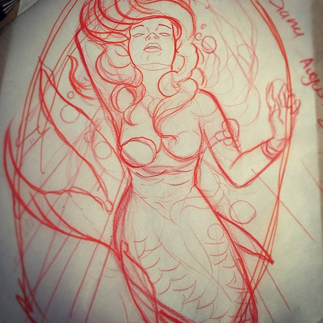 Sketch by @gust_razotattoos for an upcoming #mermaidtattoo on a client