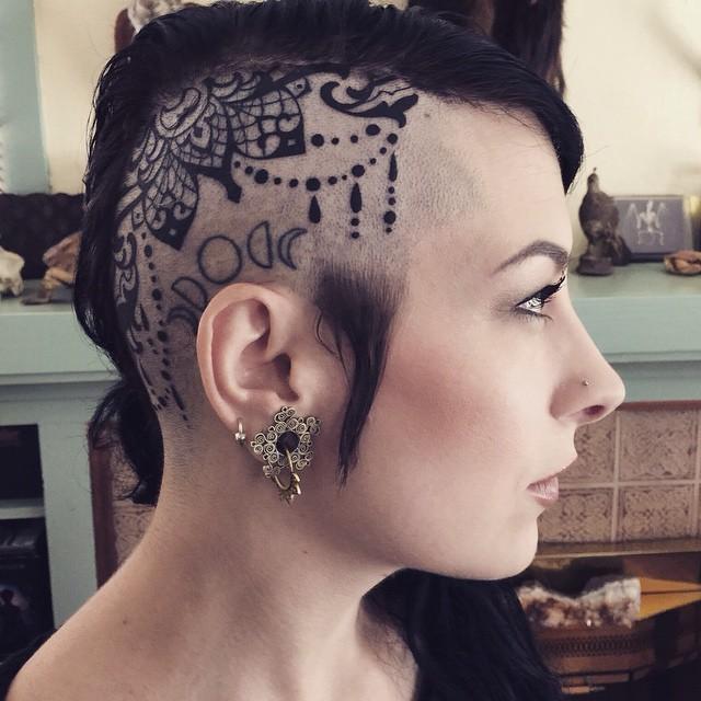 Head tattoo by Terry Ribera @terryribera on @jasmineworth #headtattoo #headtattoos #lacetattoo #remingtontattoo