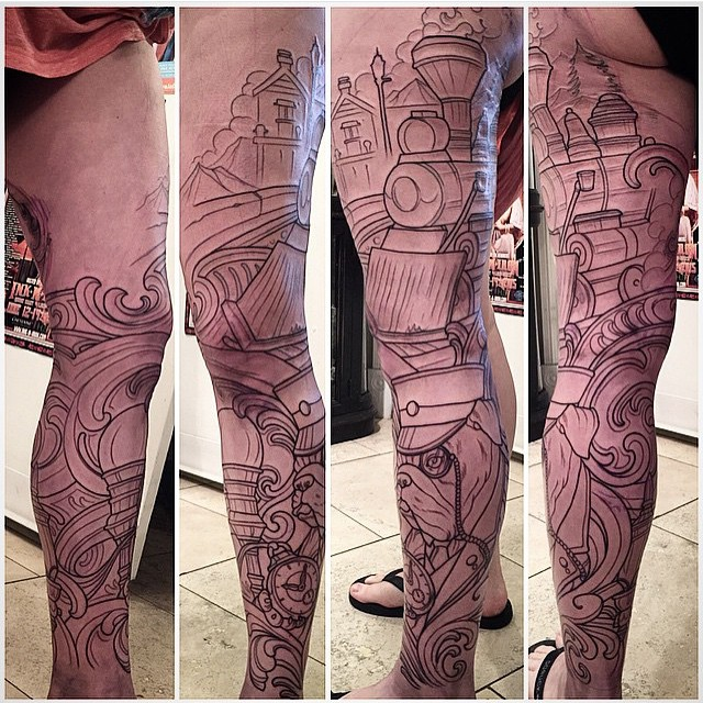 Leg Tattoo by Terry Ribera - In Progress
