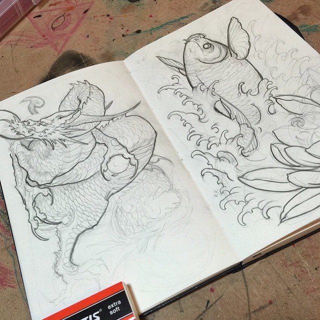 @gust_razotattoos sketchbook #sketchbook #koifish #dragon #japanesetattoo
