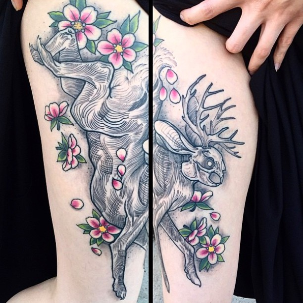 Healed tattoo by @gust_razotattoos Stop by Remington tattoo today to book your appointment! #rabbittattoo #darkart #darkartists #wip #skeletontattoo #jackalope #jackalopetattoo @darkartists