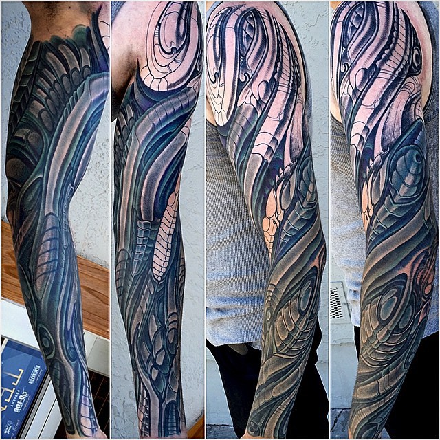 Biomech sleeve in progress by @terryribera #biomech #biomechtattoo #biomechcollective
