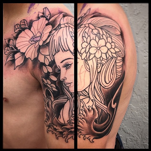 By @gust_razotattoos stop by Remington Tattoo to book your spot today! #sandiegotattoo #sandiegotattooartist #remingtontattoo #tattoo #girltattoo #flowertattoo #wip