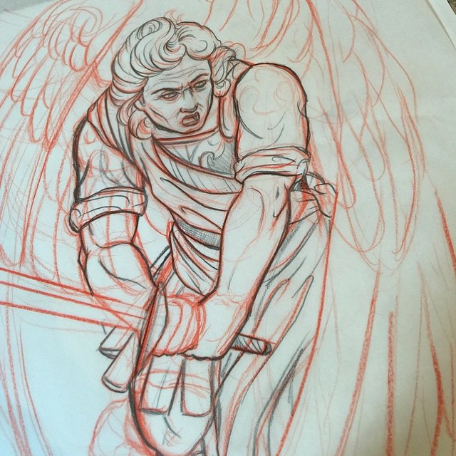 Drawing by @gust_razotattoos for upcoming piece #remingtontattoo #angeltattoo