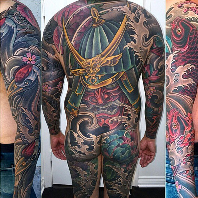 Completed big pice by @terryribera #art #tattoo #tattoos #remington #remingtontottoo #terryribera #terryriberatattoo #northpark #30thst #sandiegotattoo #sandiegoartist #sandiegotattooartist #sandiego #samurai #crane #koifish