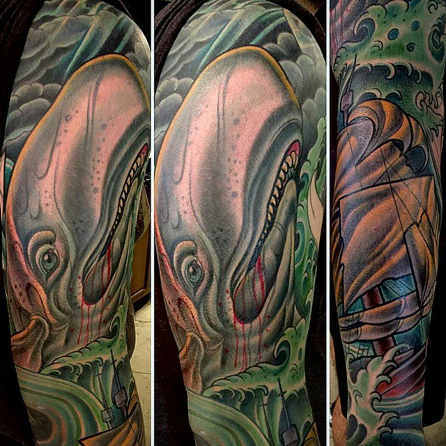 Here's a piece by @terryribera ! #tattoo #tattoos #remington #remingtontottoo #terryribera #terryriberatattoo #sandiegotattoo #sandiegotattooartist #sandiegoartist #northpark #30thst #whale #whitewhale