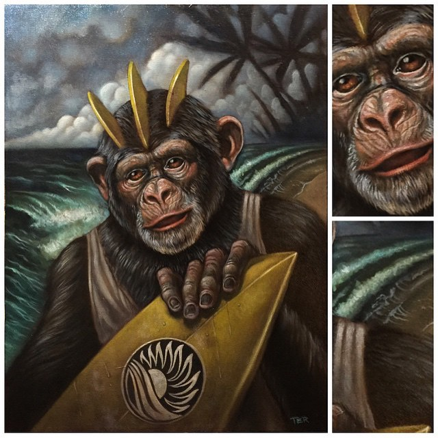 Painting by @terryribera #monkey #surfmonkey