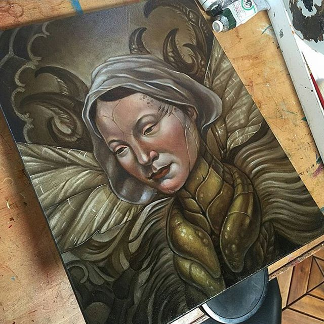 In progress painting by @terryribera!  #art #painting #wip #portrait #figurative #oil #oils #insect #insectoid #oldholand #terryribera #sandiegoartist #sandiego
