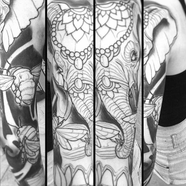 In progress tattoo by @gust_razotattoos #art #tattoo #tattoos #remington #remingtontattoo #gustrazo #elephant #bumblebee #gustrazotattoos #northpark #30thst #sandiegotattoo #sandiegoartist #sandiego