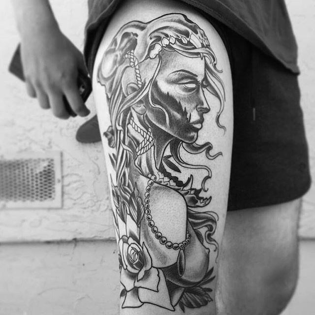 In progress tattoo by @gust_razotattoos #art #tattoo #tattoos #tattooart #remington #remingtontattoo #gustrazo #gustrazotattoos #northpark #30thst #worriorwoman #sandiegotattooartist #sandiegotattooshop #sandiego