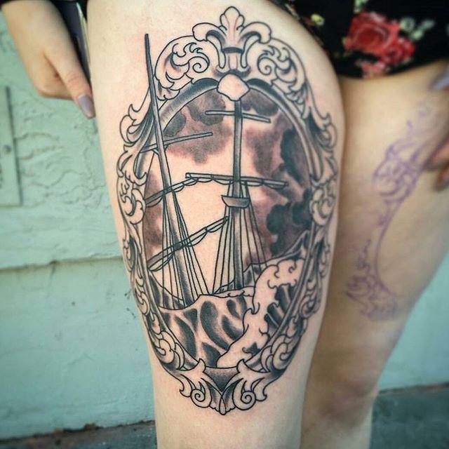 Black grey stormy seas sinking ship portrait for Sinking ship tattoo