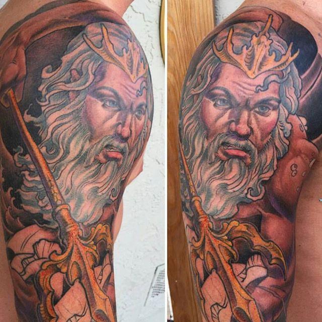 In progress tattoo by @nathanieltattoosd #art #tattoo #tattoos #tattooart #remington #remingtontattoo #poseidon #poseidontattoo #northpark #30thst #sandiegotattoo #sandiegotattooshop #sandiegotattooartist #sandiegoartist #sandiego