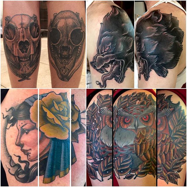 Attention Tattoo Collectors. I am currently teaching the amazingly talented Jasmine worth the craft of tattooing. Here is a small sample of tattoos she has made. While she is moving in to the next phase of her apprenticeship we are looking for people interested in collecting tattoos from Jasmine. You can see more of her personal art here @jasmineworth www.jasmineworth.com she is still working toward perfecting her understanding of tattoo application, but she has made quick and solid tattoos in a short amount of time. We have carefully taught her with our goals aimed at tattoos built to last while still encouraging her incredible artistic style. We expect to see many amazing pieces from her as her work grows. Anybody interested in receiving a tattoo from Jasmine while her rates are reduced during her apprenticeship please email her here (JasmineWorthTattoos@gmail.com) you'll not only be collecting a cool tattoo, but also contributing to Jasmine's growth in this field. -Terry
