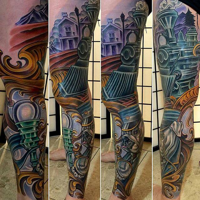 Tattoo by @terryribera #art #tattoo #tattoos #tattooart #remington #remingtontattoo #terryribera #terryriberatattoo #train #bulldog #conductor #northpark #30thst #sandiegotattoo #sandiegotattooshop #sandiegotattooartist #sandiegoartist #sandiego