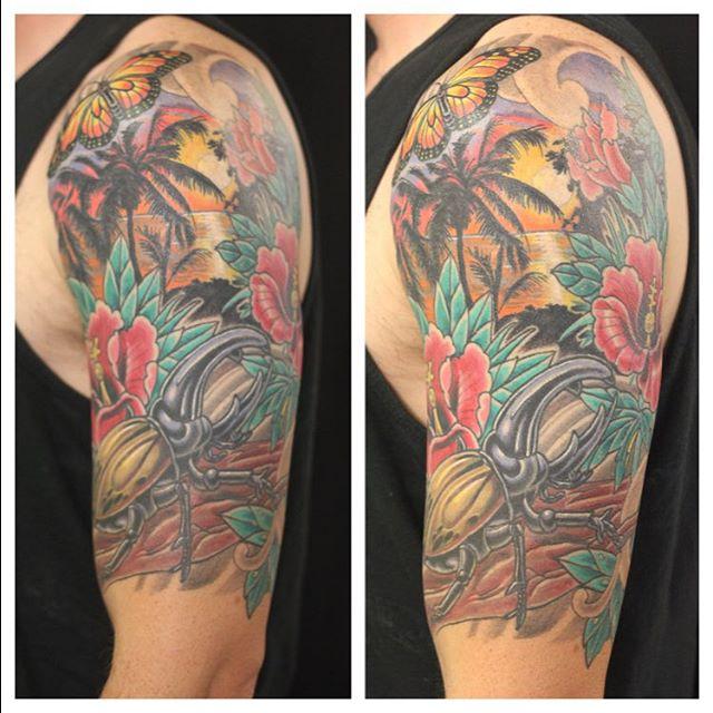 Tattoo form @chriscockadoodledo #sandiegotattoo #sandiegotattooartist #herculesbeetle #sunsettattoo