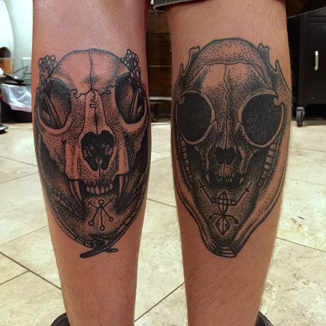 Left leg is fresh, right leg is healed. Tattoo by Jasmine Worth @jasmineworth currently apprenticing with Terry Ribera. To get tattooed by Jasmine at a reduced apprentice rate please contact her at jasmineworthtattoos@gmail.com Thanks! #darkart #darkartists #skulltattoo #catskulltattoo #blackworkers