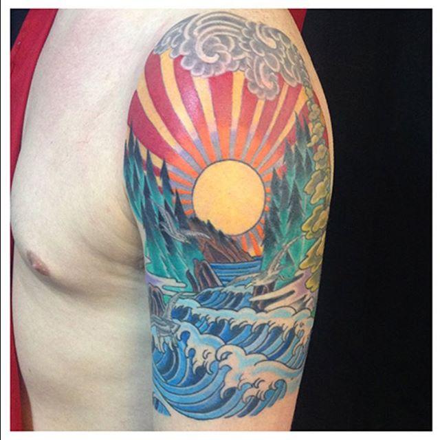 California Inspired Japanese Style Arm Tattoo