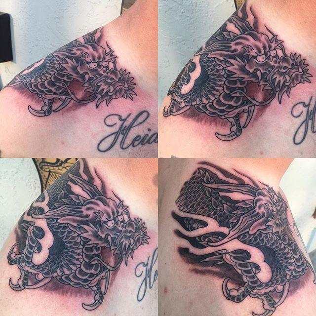 Dragon Tattoo Over Shoulder