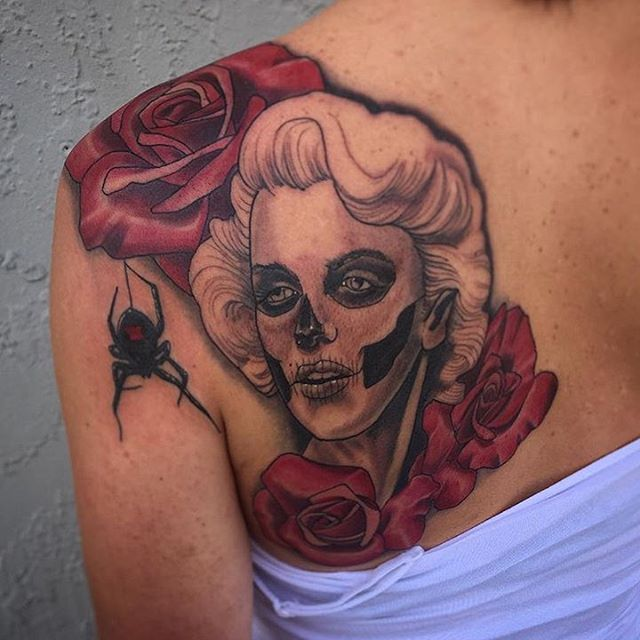 By Gustavo Razo @gust_razotattoos at Remington Tattoo #remingtontattoo #dayofthedead #dayofthedeadtattoo #marilyntattoo #marilynmonroe #marilynmonroetattoo