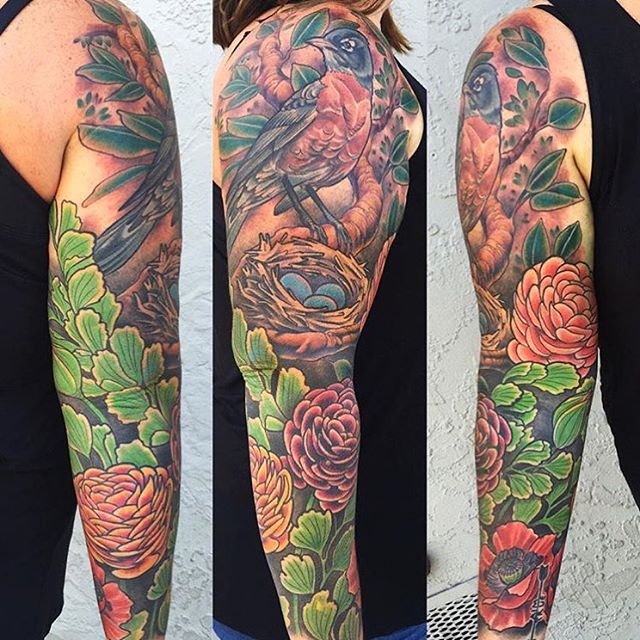 Robin sleeve by Nathaniel Gann @nathanieltattoosd at Remington Tattoo #robintattoo #birdtattoo #nesttattoo #sleeve #tattooistartmag #tattooistartmagazine #nathanielgann #remingtontattoo