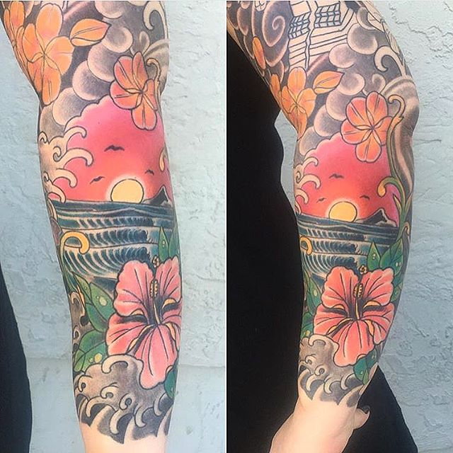 Tropical tattoo in progress by Chris Cockrill @chriscockadoodledo at Remington Tattoo #sandiegotattoo #hawaiitattoo #tropicaltattoo #flowertattoo #remingtontattoo