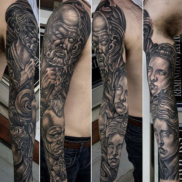 Statue greek god tattoo remington tattoo parlor for Greek sculpture tattoo